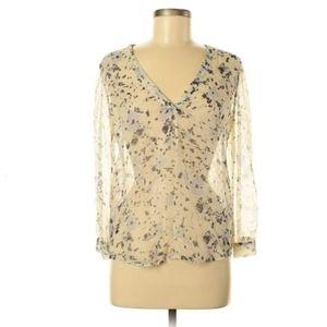 Joie Sheer Silk Long Sleeve Floral Blouse